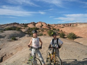 Family mountain biking in Moab, Utah