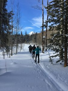 A beautiful day for ski touring with friends in the Gore Range of Colorado