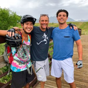 Father and son mountain biking on the Dirty Bismarck